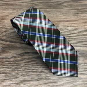 Ben Sherman Olive, Red & Blue Plaid Skinny Tie